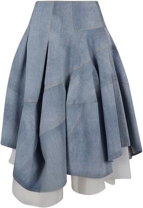 Ermanno Scervino Flared Asymmetric Denim Skirt