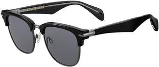 Rag & Bone Semi-Rimless Acetate & Metal Round Sunglasses