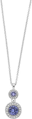 Brilliance+ Brilliance Double Oval Halo Pendant Necklace with Swarovski Crystals