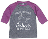 Urban Smalls Heather Gray & Purple 'Unicorns' Raglan Tee - Toddler & Girls