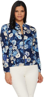 Denim & Co. Studio by Floral Print Zip-Front Bomber Jacket