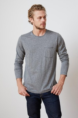 Velvet by Graham & Spencer Simeon Charcoal Raw Edge Cotton Slub Tee