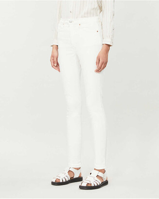 Topshop Cropped skinny high-rise cotton-blend jeans