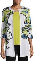 Misook Floral-Knit Long Jacket, Multi Colors, Petite