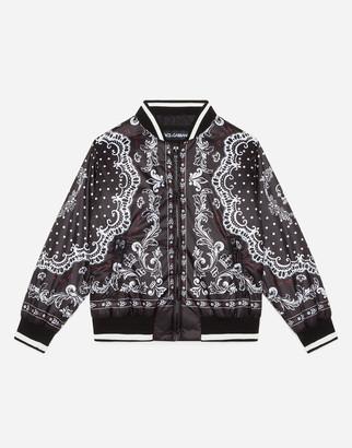 Dolce & Gabbana Nylon Bomber Jacket With Bandana Print