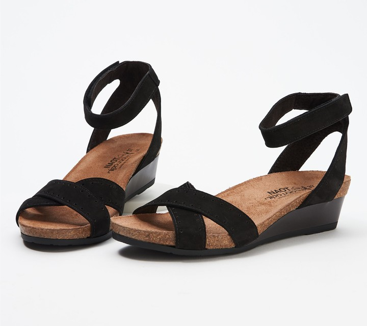 Naot Footwear Nubuck_Leather Ankle Strap Demi-Wedges - Wand