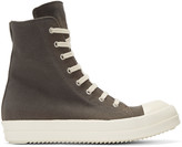 Rick Owens Grey Canvas High-Top Sneakers
