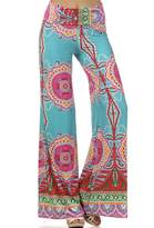 Private Label Womens Fold Over Waist Wide Leg Palazzo Pants (L, Teal Tropical)
