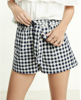 Express High Waisted Gingham Print Sash Waist Shorts