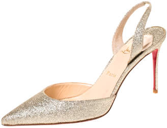 Christian Louboutin Gold Leather Ever Glitter Halter Pointed Toe Slingback Sandals Size 40