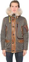Parajumpers Nylon Down Jacket W/ Shearling & Fur