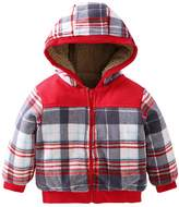 Azyuan Unisex Baby Christmas Jacket Long Sleeves Plaid Wool Hooded Coat 12-18M
