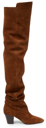 Saint Laurent Sun Point-toe Over-the-knee Suede Boots - Tan