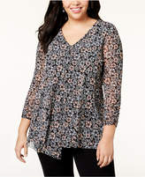 Alfani Plus Size Printed Drape-Front Top, Created for Macy's