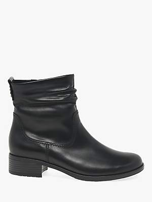 Gabor Mopsy Leather Block Heel Ankle Boots, Black