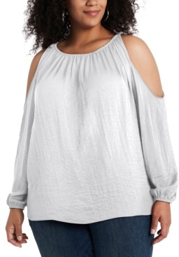1 STATE Trendy Plus Size Cold-Shoulder Top