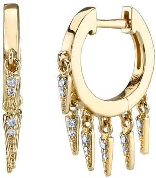 Sydney Evan 14ct Yellow Gold And Diamond Fringe Huggie Hoop Earrings