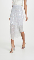 Cushnie High Waisted Sheer Skirt with Iridescent Paillettes