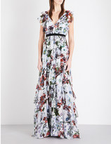 Erdem Perry ruffled floral-print silk-voile gown