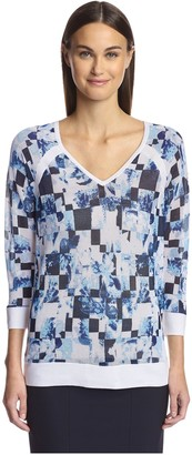 Magaschoni Women's Mesh Pullover Sweater