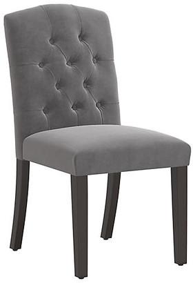 One Kings Lane Lea Tufted Side Chair - Gray Velvet