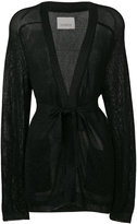 Laneus sheer belted cardigan