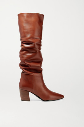 Prada 65 Leather Knee Boots - Tan