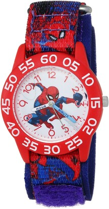 Marvel Boys Spider-Man Analog-Quartz Watch with Nylon Strap Blue 16 (Model: WMA000193)
