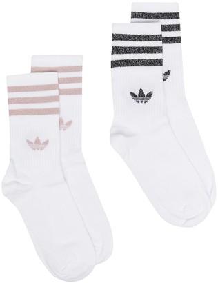 adidas Two-Pack Glitter Logo-Print Socks