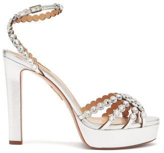 Aquazzura Tequila 120 Crystal-strap Leather Platform Sandals - Silver