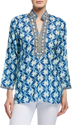 Bella Tu Marni Beaded Neck Long-Sleeve Tunic