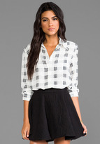 Equipment Reese Houndstooth Check Blouse