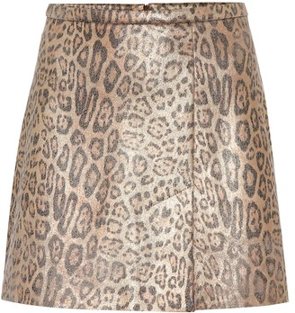 STOULS Santa leopard-print suede miniskirt