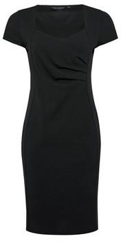 Dorothy Perkins Womens Black Wrap Ruched Bodycon Dress, Black