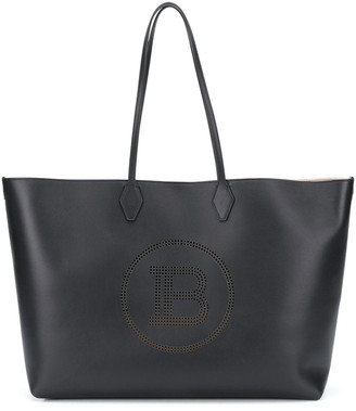 Balmain Perforated-Logo Tote Bag