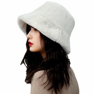 LAPOPNUT Women Faux Fur Bucket Cap Bush Hat Wide Brim Fluffy Winter Vintage Super Soft Hat
