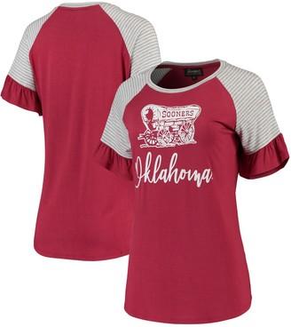 Women's Crimson Oklahoma Sooners Twist It Up Ruffle Sleeve Raglan T-Shirt
