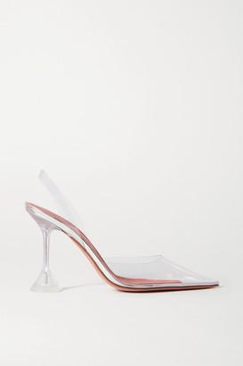 Amina Muaddi Holli Metallic Leather And Pvc Slingback Pumps - Clear