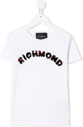 John Richmond Junior sequin logo crew-neck T-shirt