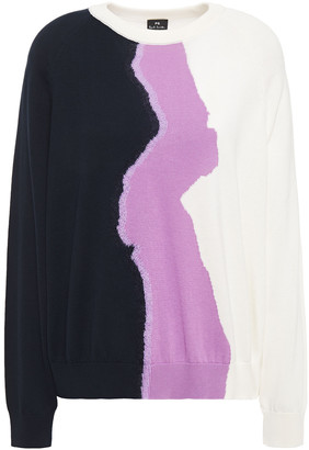 Paul Smith Color-block Cotton-blend Sweater