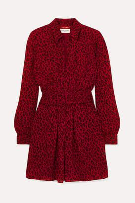 Saint Laurent Leopard-print Crepe De Chine Mini Dress - Red