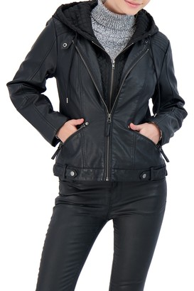 Sebby Collection Hooded Moto Jacket