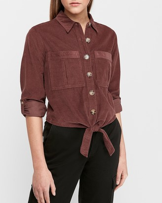 Express Corduroy Button Tie Front Utility Shirt