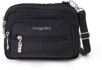 Baggallini Nylon Triple Zip Bag with Crossbody Strap