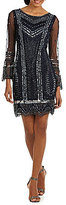 Pisarro Nights Beaded Bell Sleeve Sheath Dress
