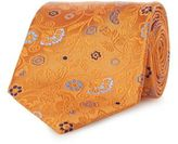 The Collection Orange Pure Silk Floral Patterned Tie