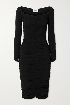 KHAITE Charmaine Ruched Stretch-knit Midi Dress - Black