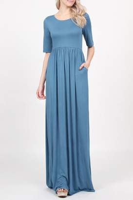 Riah Fashion Half-Sleeve-Scoop-Neck Pocket Maxi-Dress