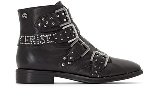 Le Temps Des Cerises Izy Ankle Boots with Studded Buckled Straps