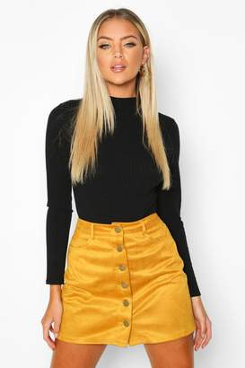 boohoo Suedette Button Front A Line Mini Skirt